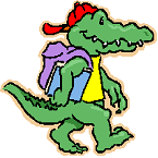 a green alligator with a bookbag and a red cap