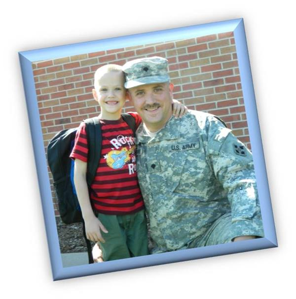 Military father with his son